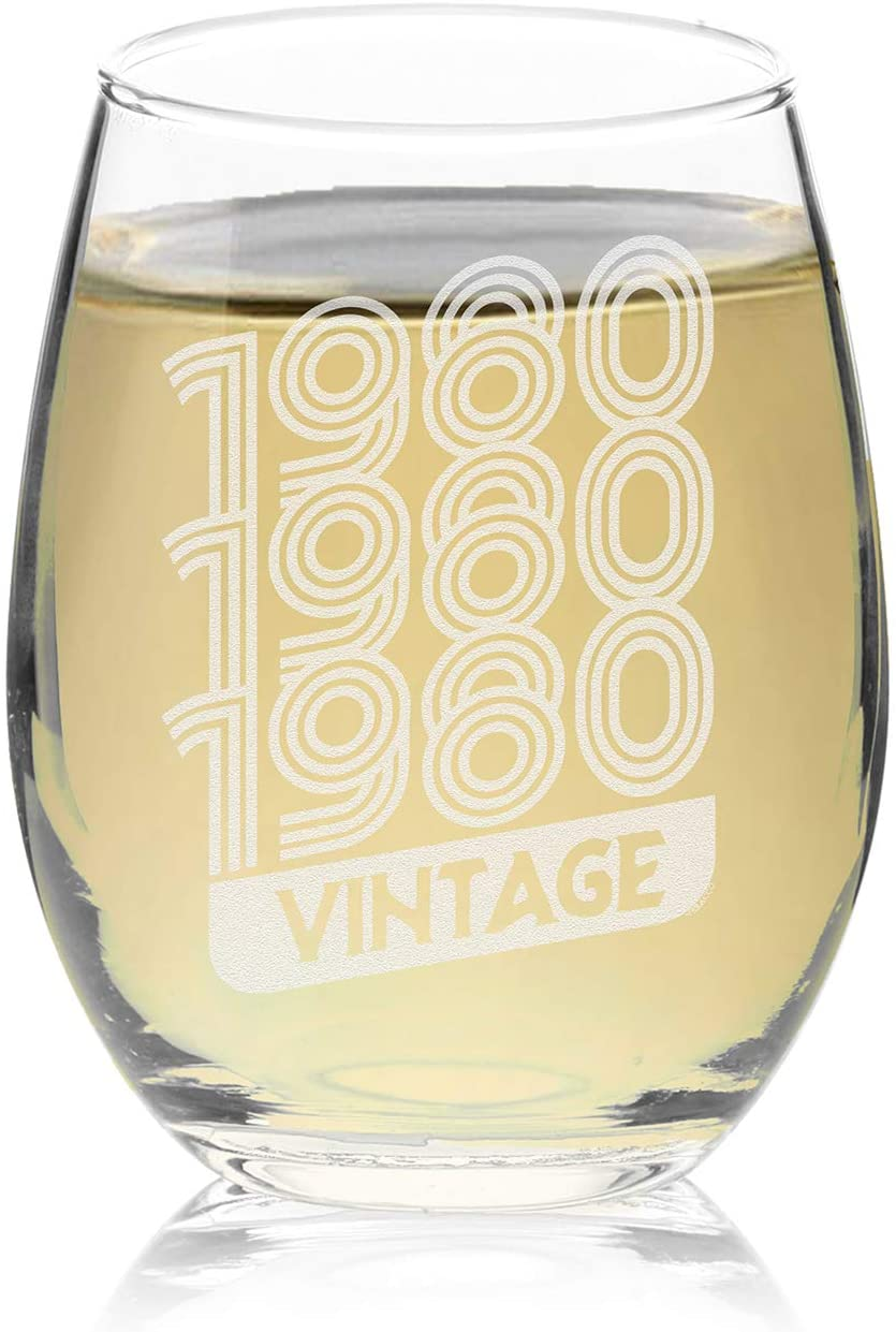 Veracco 198019801980 Vintage Stemless Wine Glass 40th BirthdayGift For Him Her Forty and Fabulous (1980, Stemless Glass)