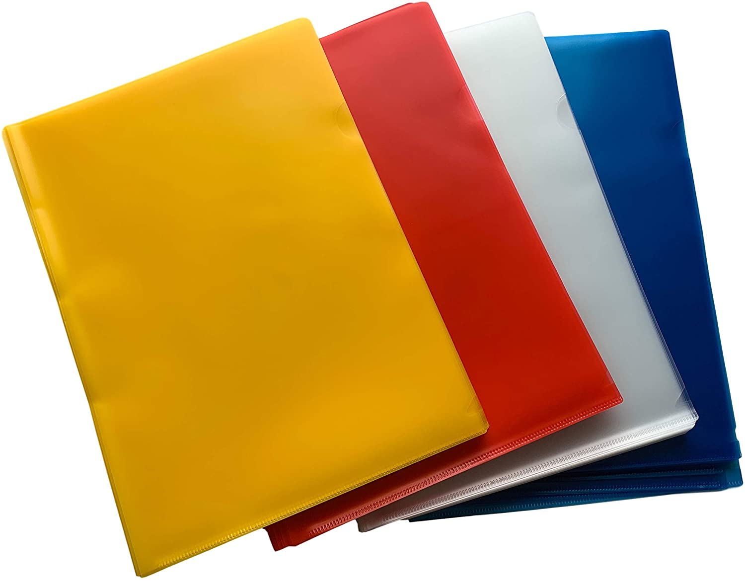 Pack of 1000 A4 Assorted Colour L Shaped Open Top and Side Report File Folders