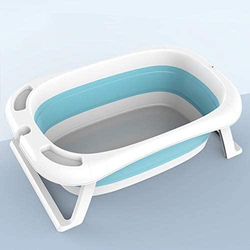 XIWAN Newborn Baby Folding Bath Tub Baby Swim Smart LED Tubs Bath Body Washing Portable Foldable Children Shower Non-Slip Kid Bathtub (Color : Blue)