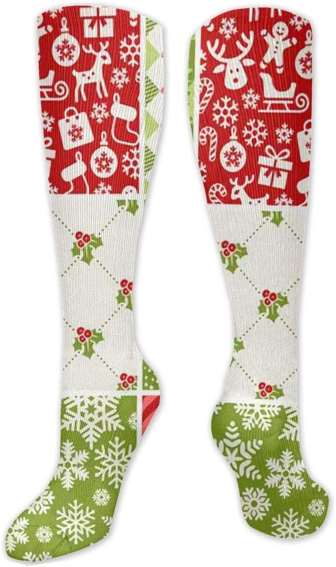 Compression Sock for Women & Men,Christmas Patterns CasualLongKneeHighTubeSocksforRunnning,SoccerAthleticSports,Travel-50cm