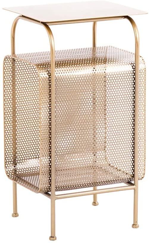 LWW Table,3-Tier Wrought Iron Floor Debris Rack,Magazine Rack-Book Shelf ,for Bedroom Study Storage Rack 35 X 30 X 65Cm,Glod