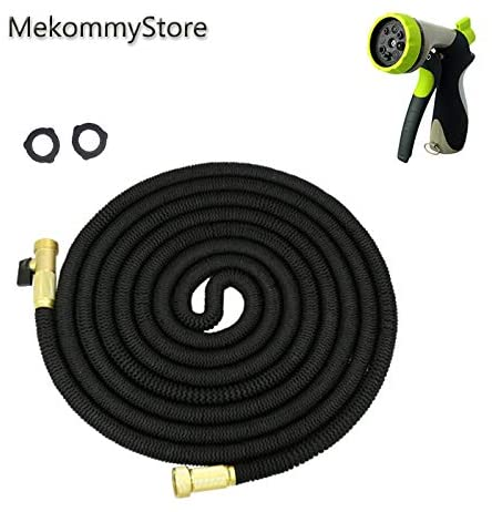 MekommyStore (2020) The Ultimate 100ft Expandable Water Hose, Black Color, Free 5-Stars 8 Pattern Zinc Alloy Spray, Double Latex Core, 3/4 Solid Brass Fittings,3750D Extra Strength Fabric