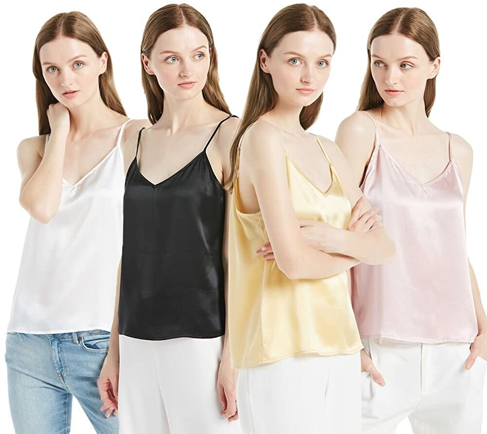 LILYSILK Women's 100 Silk Camisole Charmeuse Mulberry 22mm V Neck Elegant Tank Tops for Ladies 4 Pack