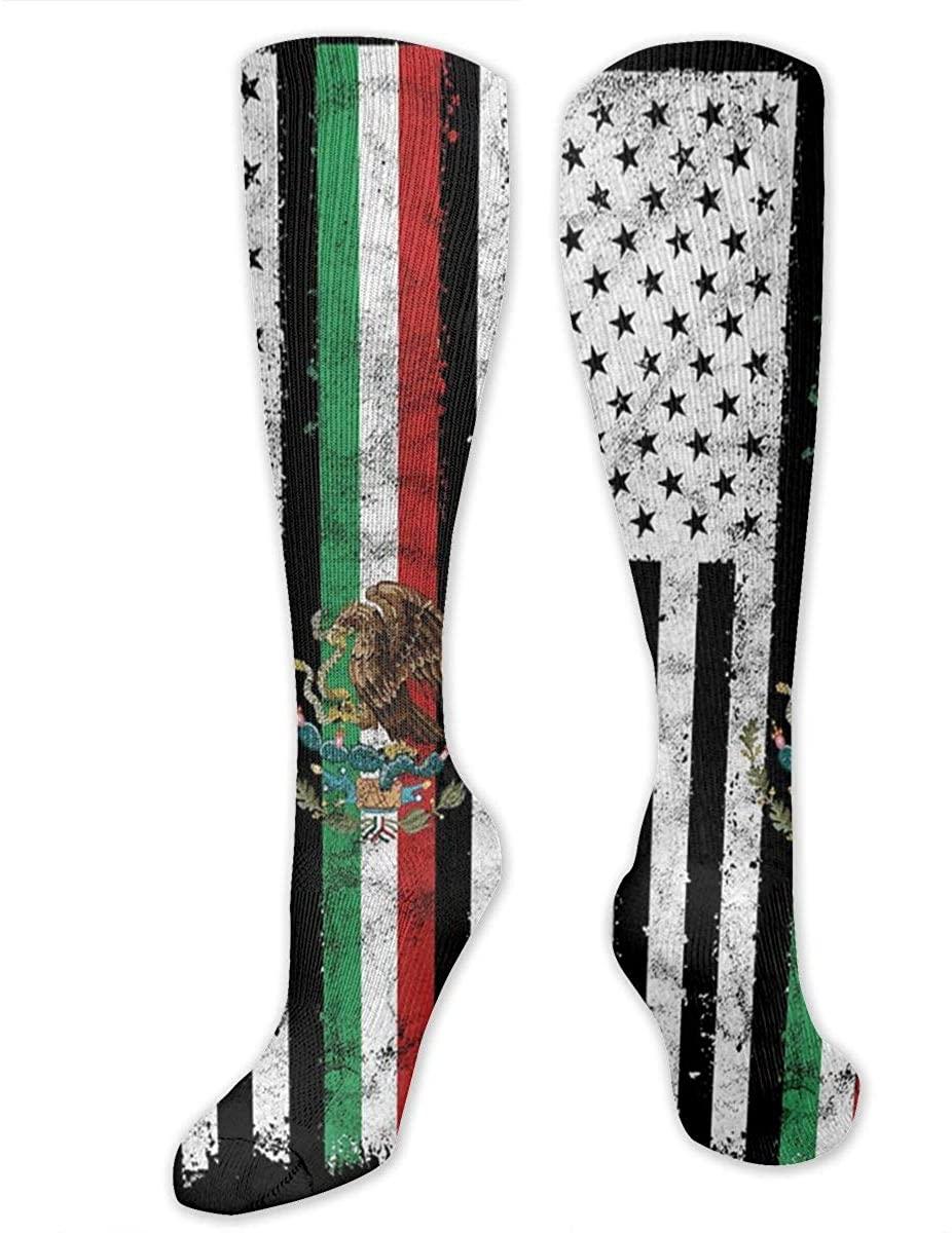 Mexican-American Flag Athletic Socks Thigh Stockings Over Knee Leg High Socks