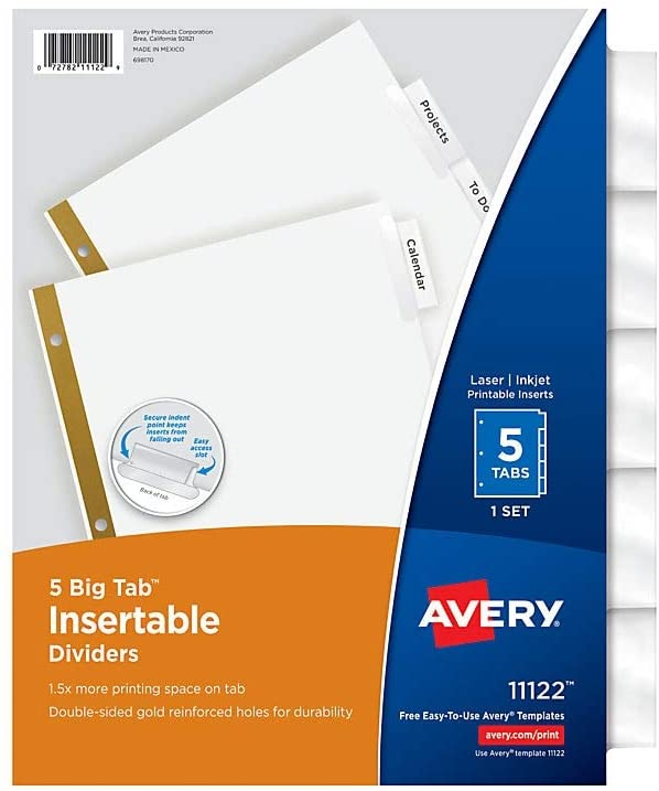 Avery 11122 Big Tab Insertable Dividers, 8-1/2-Inch x 11-Inch, Clear Tabs, 5 Tabs/Set
