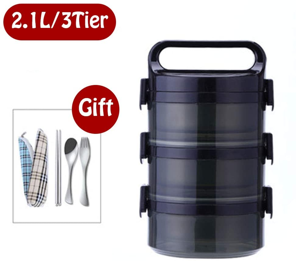 Jjwwhh Lunch Box Insulated Bento Box Stackable Stainless Steel Lunch Storage Multi-Layers Containers with Spoon and Fork for School and Adults Office Picnic,Black,2.1L
