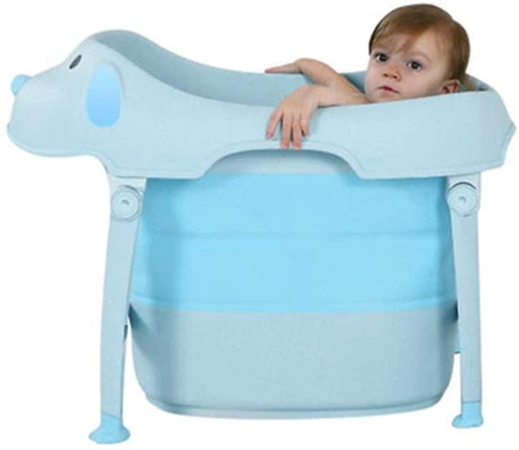 TNDHY Foldable Baby Bath Large Child Bath Barrel Bath Barrel Child Bath Basin (Color : Blue)