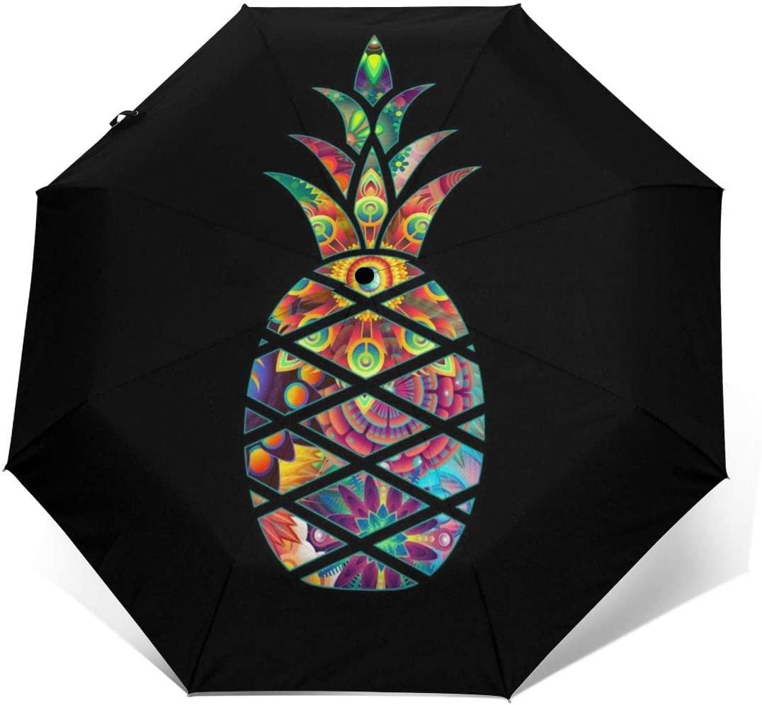 Aloha Pineapple Windproof Automatic Folding Umbrella Tri-fold Umbrella