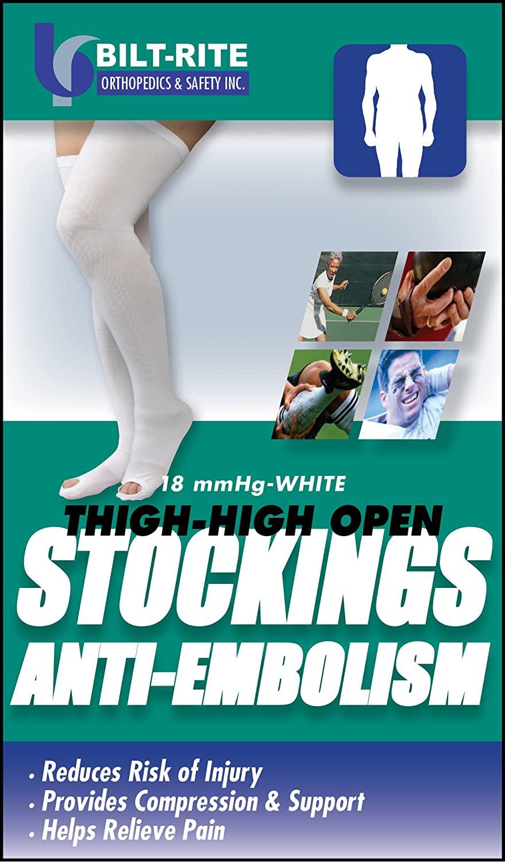 Bilt-Rite Mastex Health Thigh High Anti Embolism Stockings, White, 2X-Large
