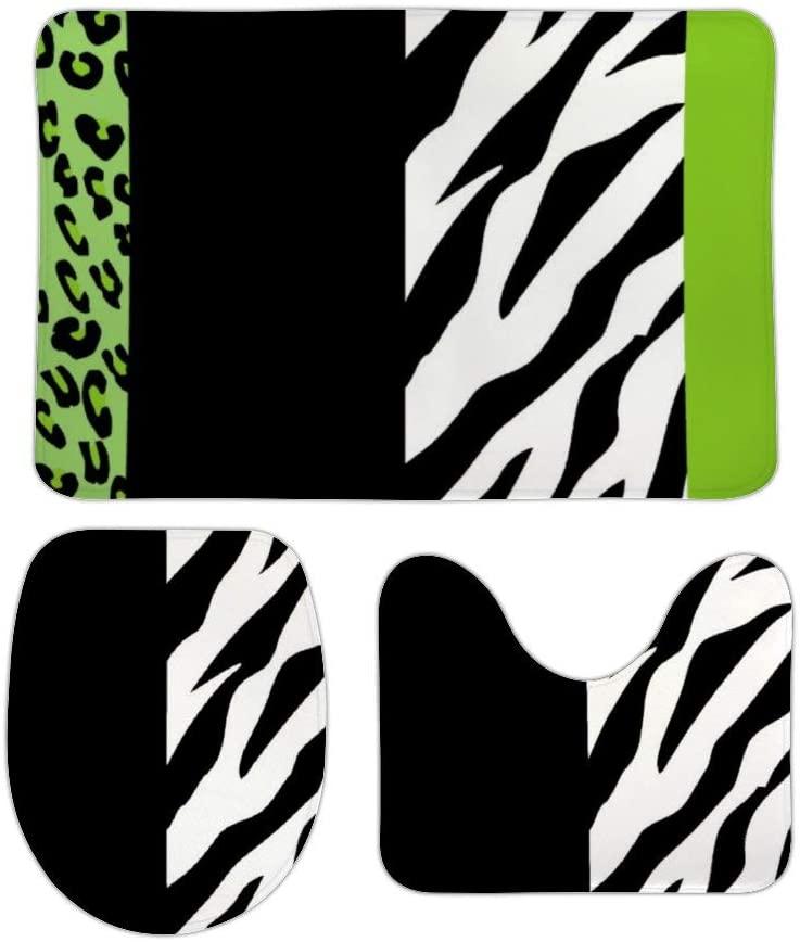 Animal Print, Zebra Stripes, Leopard Spots 3 Piece Bathroom Rug Set Bath Mat, U Shaped Contour Mat, Lid Cover Non-Slip with Rubber Backing, Perfect Carpet Mats for Tub, Shower, Home Decor 16