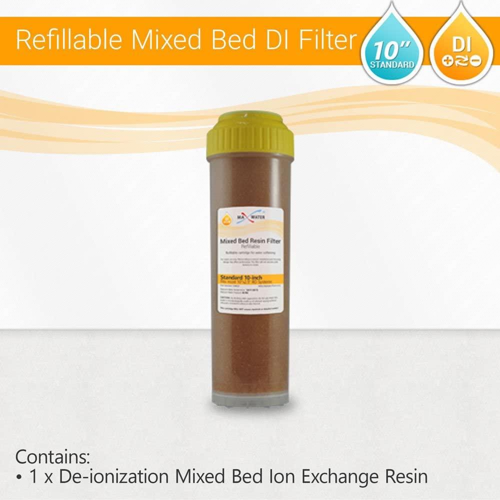 RO DI Deionization Aquarium Reverse Osmosis Mixed Bed Clear Refillable Housing