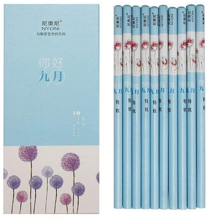 September Special Soft Blue Sketch Sketch 10 HB Core Drawing Pencils