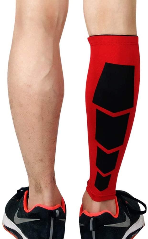 PBQWER (2 Pc) Compression Calf Sleeve, Support Sports Leg, Warmers Cycling, Running Leggings, Basketball, Leg Sleeve, Football,Red,L