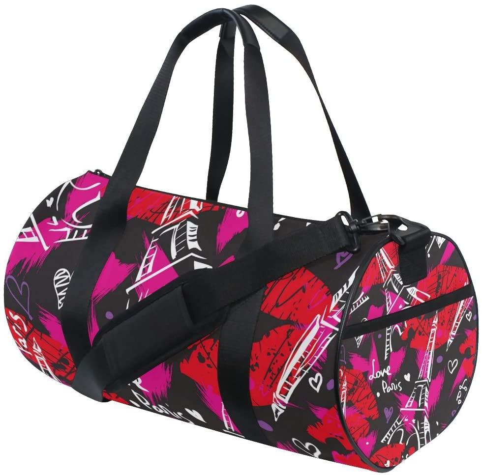 My Little Nest Sports Gym Bag Bonjour Paris Eiffel Tower Lips Lightweight Travel Duffel Bag for Women Men