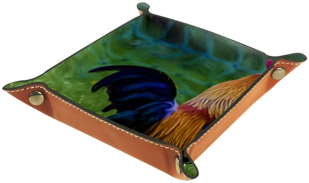 Rooster Oil Painting Organizer Office Microfiber Leather Desk Tray Practical Storage Box for Wallets Keys and Office Equipment,16x16cm