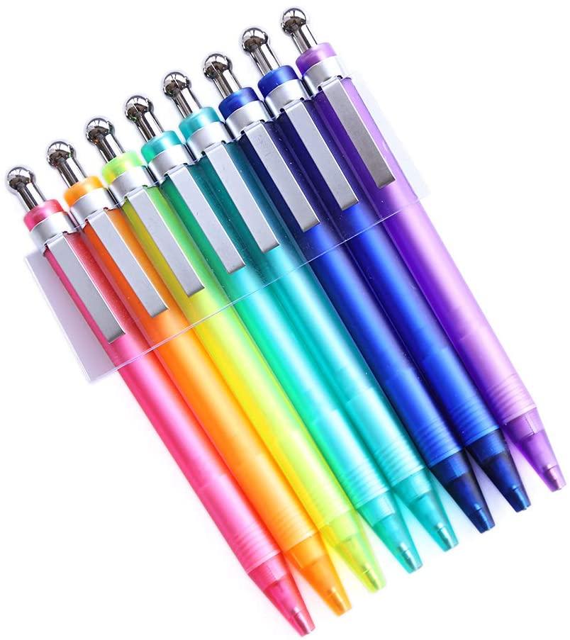 GANSSIA Colorful Short Length Mechanical Pencil 0.7mm Point Pack of 8 Pcs