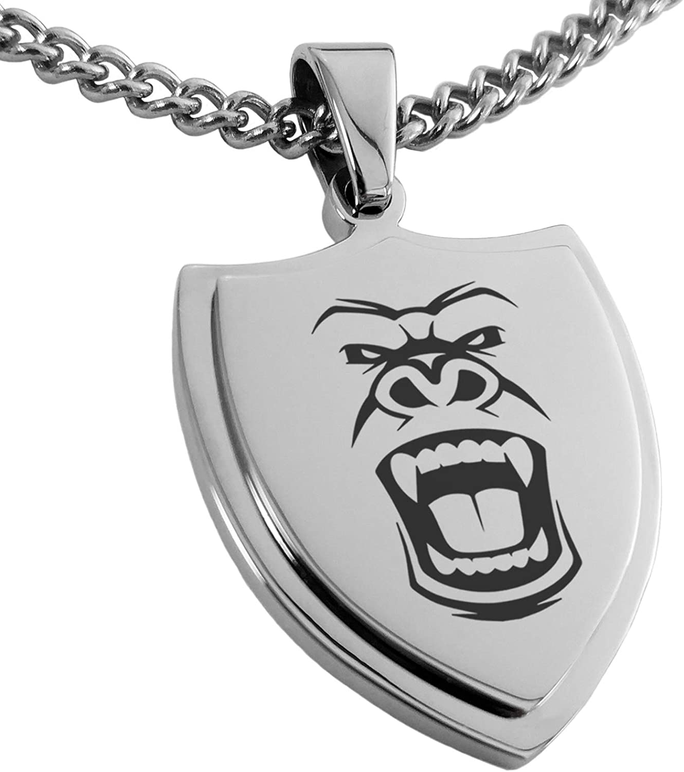 Tioneer Stainless Steel Formidable Kong Gorilla Shield Pendant Necklace