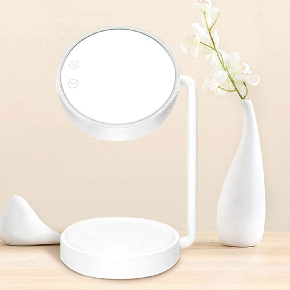 Elegant Rechargeable Adjustable Stepless Dimming Storage Makeup Lamp Mirror Table Lamp Makeup Mirror Makeup Mirror Lamp Storage Three-in-one Lamp Well-Made (Color : White)