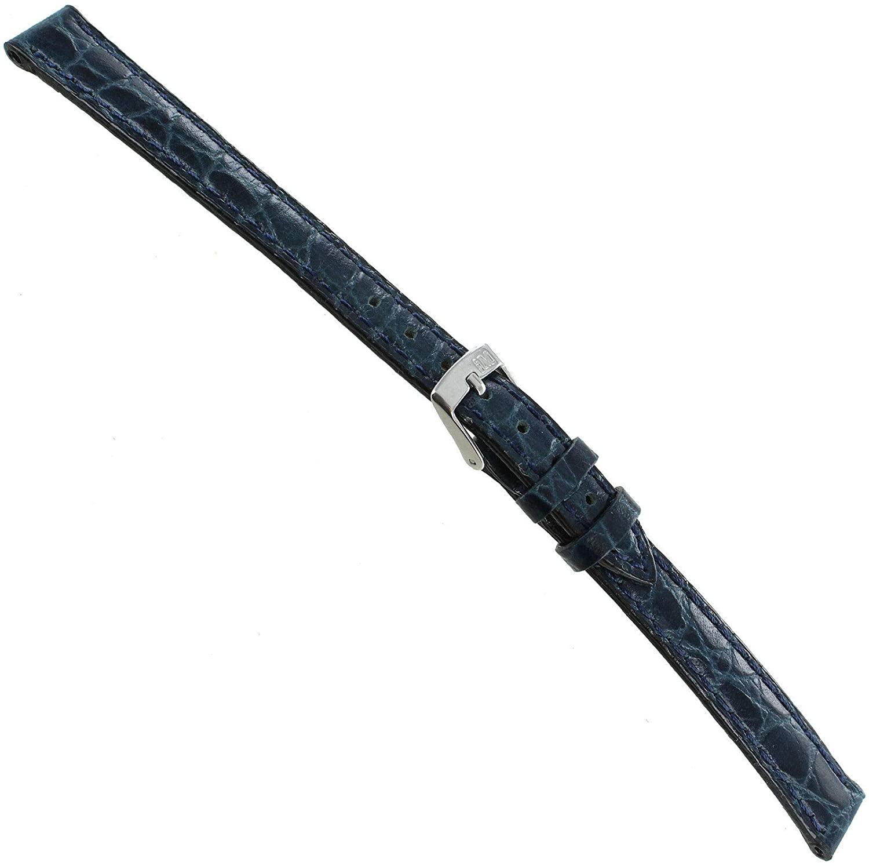 12mm Milano Navy Croco Grain Genuine Leather Stitched Ladies Watch Band 751 XL