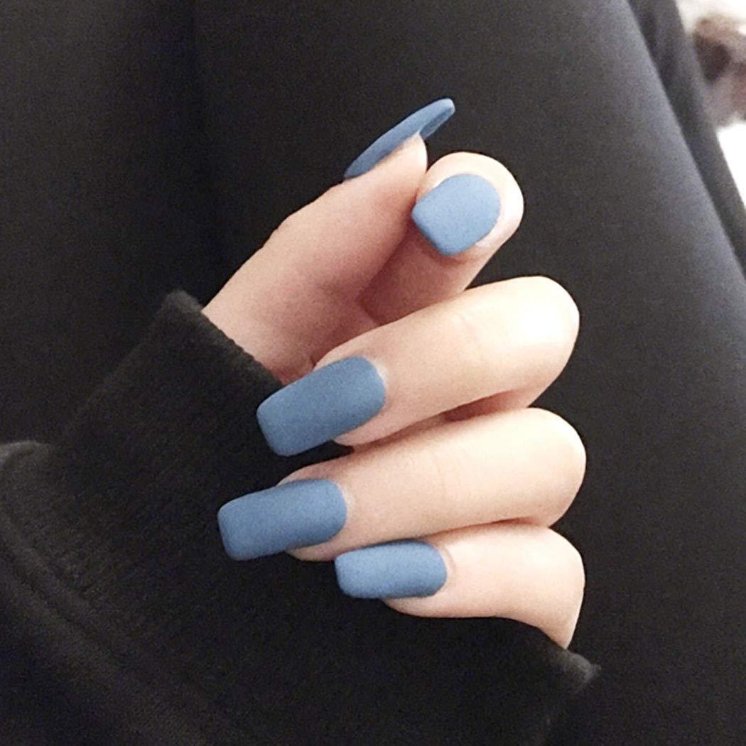 Cagora Matte Fake Nails Blue Long Press on Nails Ballerina Square Acrylic False Nails for Women and Girls 24PCS