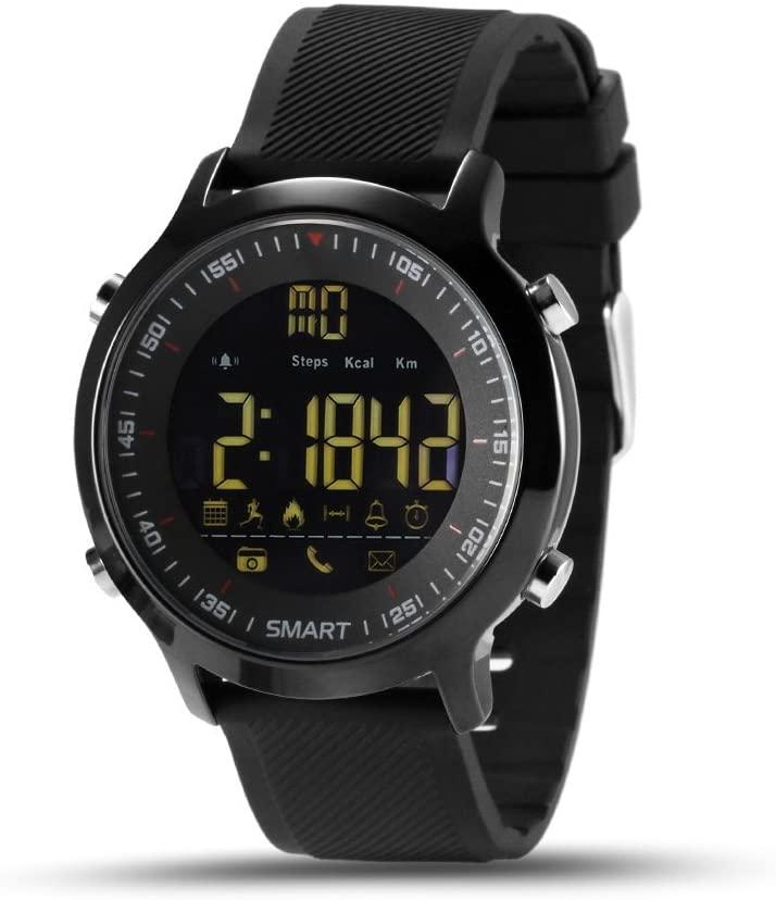 EX18 Smart Watch Sports Smartwatch Pedometer Bluetooth Wristwatch Activity Tracker Smartwatch Waterproof for iOS Android Phone, Black