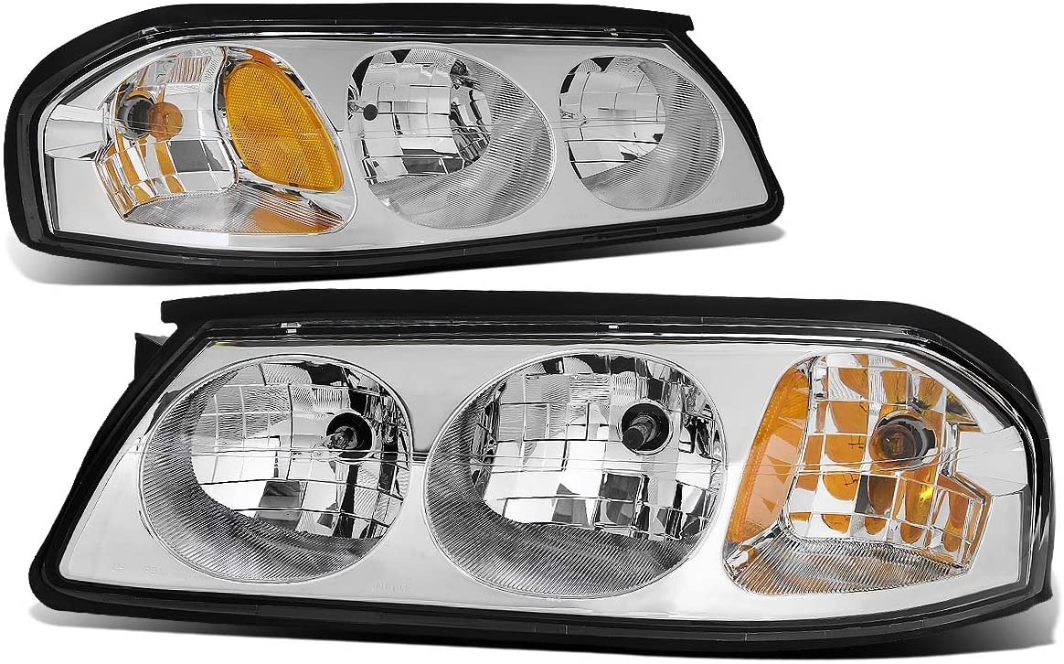Pair of Chrome Housing Amber Corner Headlight Assembly Lamps Replacement for Chevy Impala 8th Gen 00-05