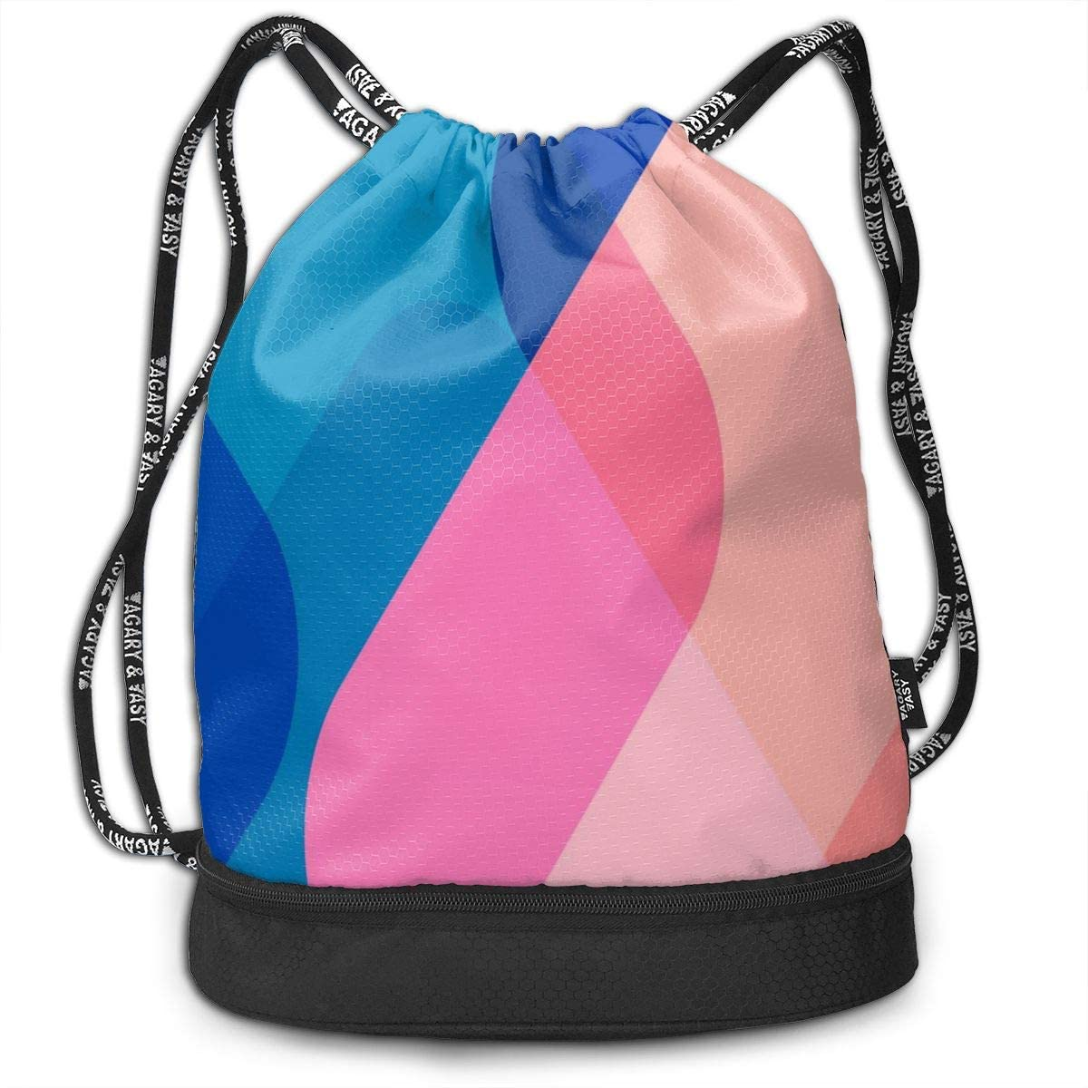 Drawstring Backpack Bag Sport Gym Sackpack With Colorful Abstract Design (39) Printing