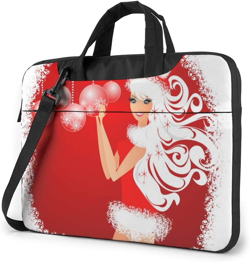 Christmas Fashion Pretty Girl Red Laptop Bag Protective Case Computer Messenger Briefcase Women Men 13