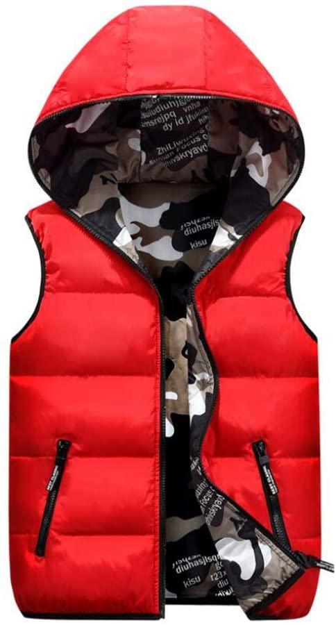 MEIYIN Parent-Child Women Men Child Vests Winter Hooded Two Side Camouflage Waistcoat