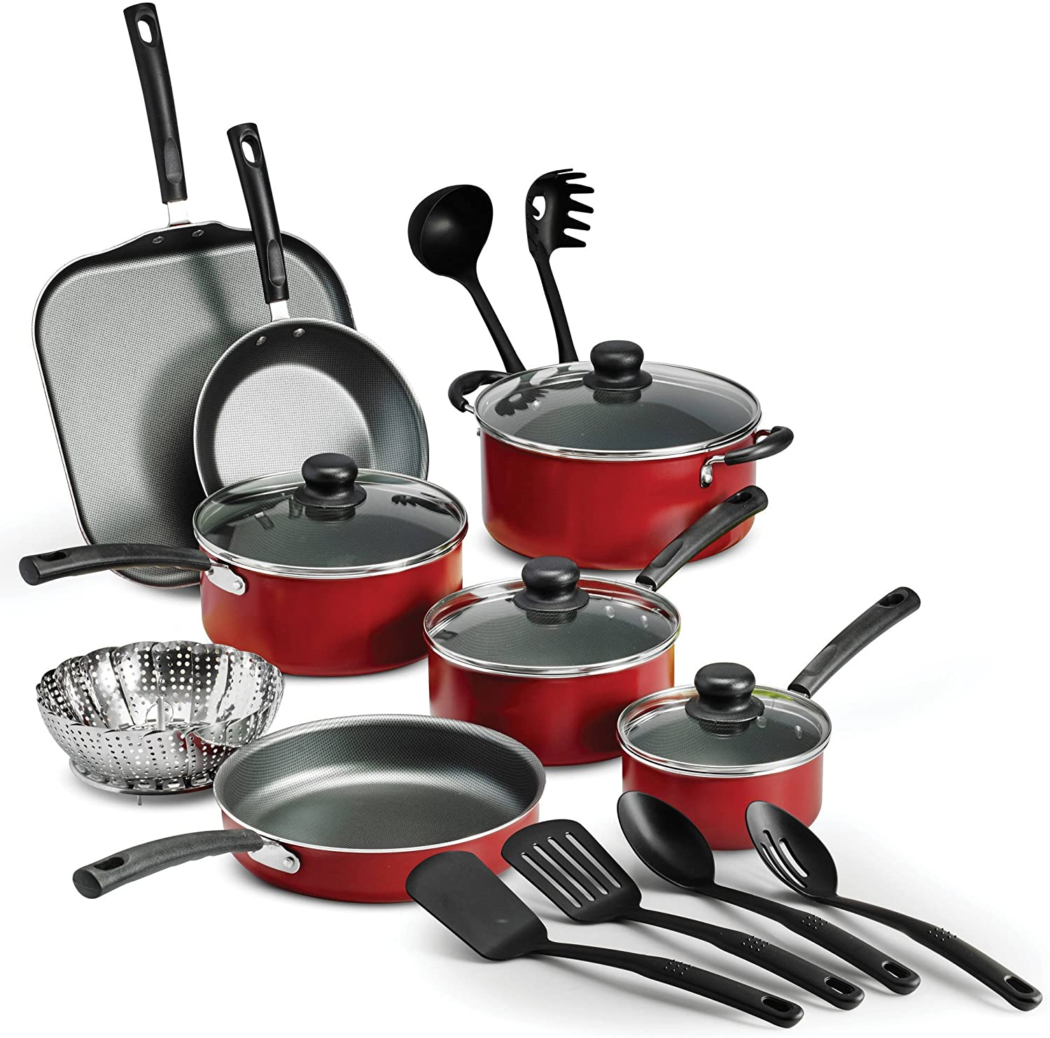 Cookware Set Red 18 Piece Non-stick Heat- and Shatter-Resistant cooking progress