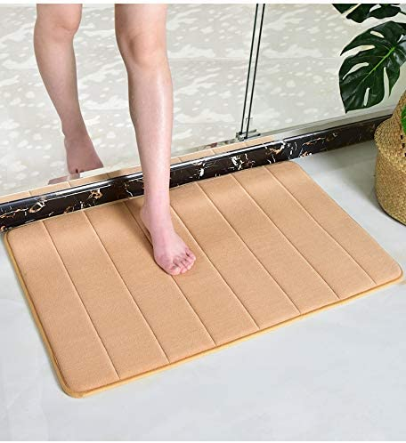 Memory Foam Bath Mat Large Size 31.5 by 19.8 Inches, Comfortable, Soft, Maximum Absorbent, Machine Wash, Non-Slip, Thick, Easier to Dry for Bathroom Floor Rug,Light Camel