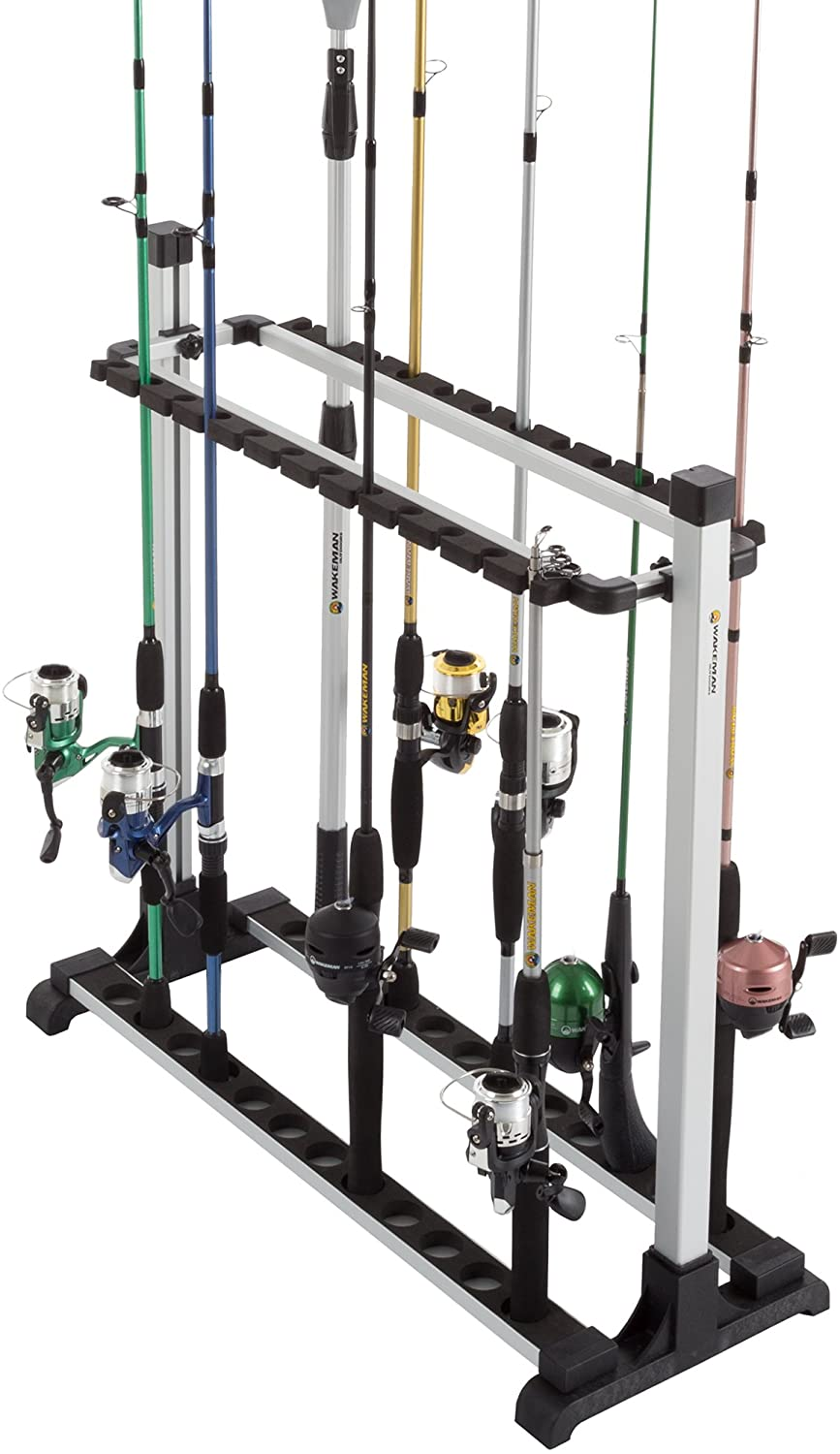 Wakeman Outdoors Fishing Rod Rack- Aluminum Freestanding Floor Storage, Organizer Stand for Home or Garage, Fits 24 Freshwater or Saltwater Rods, Black, Model: 80-FSH5020