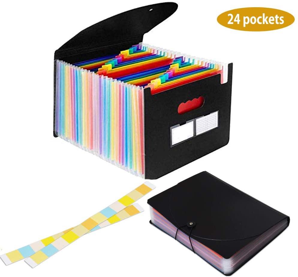 Marte Vanci Expanding File Folder A4 24 Pockets Accordion Paper Organizer Accordian File Folder File Pockets Office Paper Storage
