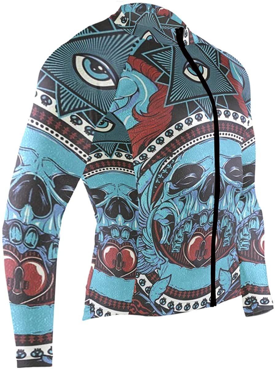 SLHFPX Sugar Skull Mens Cycling Jersey Jacket Full Sleeve Road Riding Clothing Outfit