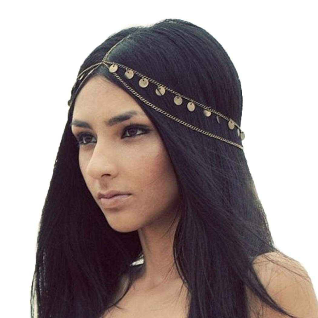 Victray Boho Sequins Head Chain Summer Beach Headpieces Party Hair Accessories Fashion Jewelry for Women and Girls