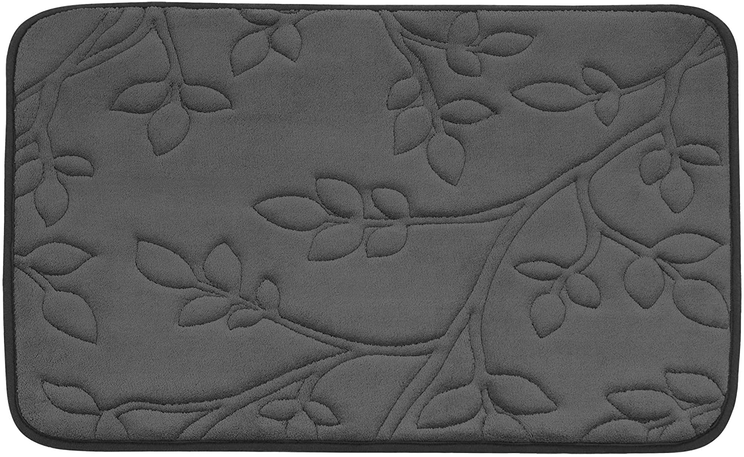 Bounce Comfort Spring Leaves Micro Plush Memory Foam Bath Mat with BounceComfort Technology, 20 x 30 in. Dark Grey
