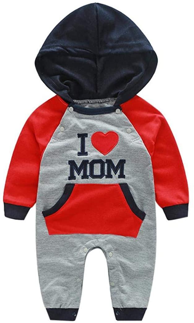 Baby Boys Girls 'I Love MOM&DAD' Print Long Sleeve Hoodie Romper Jumpsuit Onesies Winter Autumn Outfits