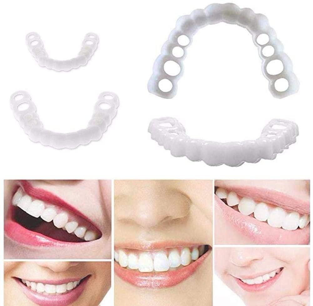 Ulat 10pcs Veneers Dentures, Temporary Dental Prosthesis Teeth, Top Cosmetic Dental Veneers, Comfort Fit Snap On Flex, Fits The Prevently Quick Dentures