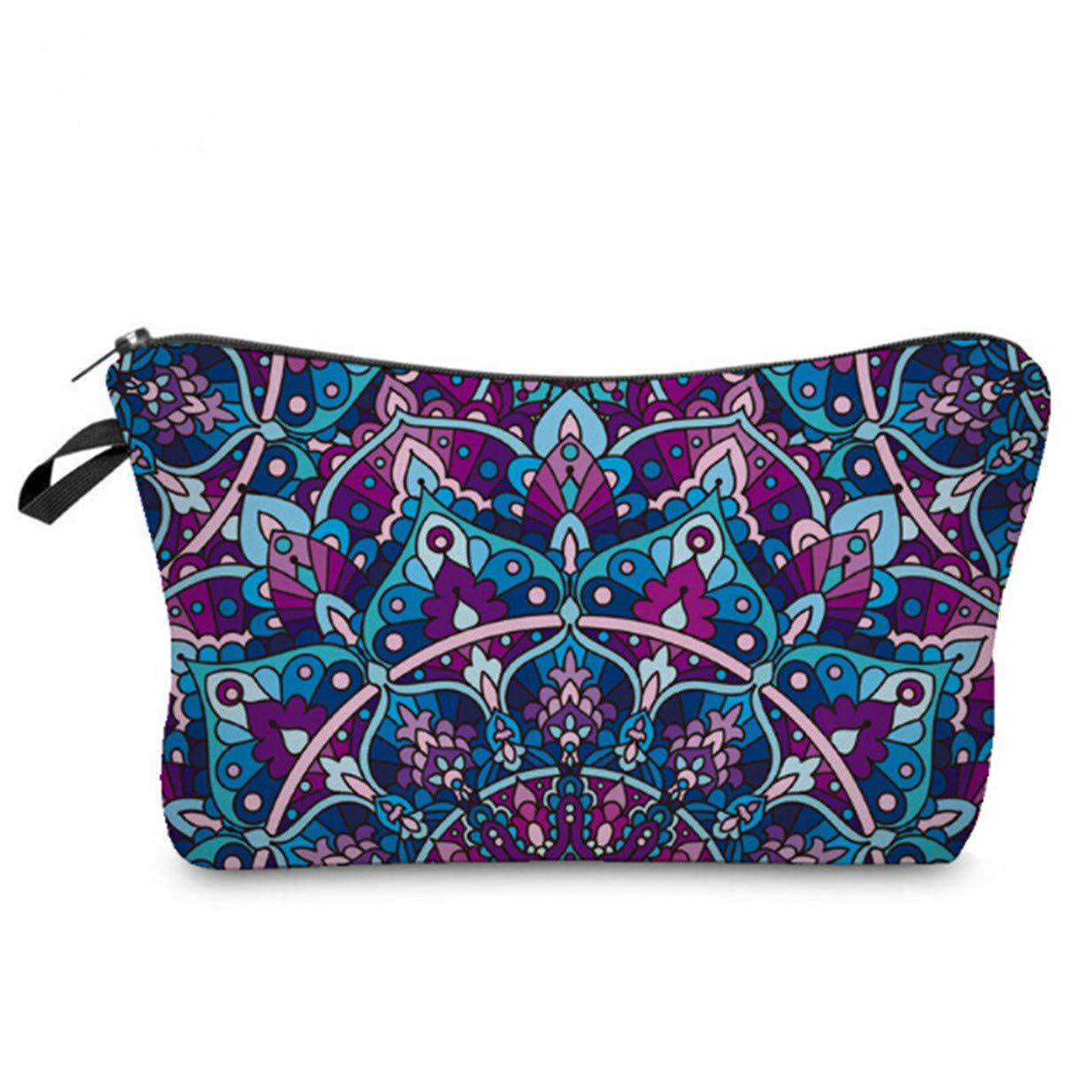 LALANG Mandala Flower Prints Mini Cosmetic Bag Women Zipper Coin Purse Female Makeup Bags