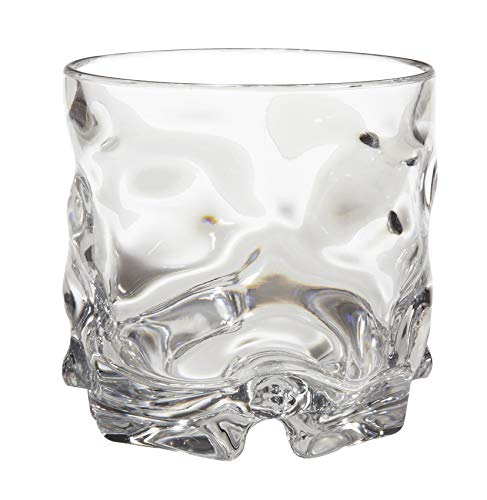 GET SW-1440-1-CL-EC BPA-Free Anti-Slip Plastic Old Fashioned Rocks Glasses, 12 Ounce, Clear (Set of 4)
