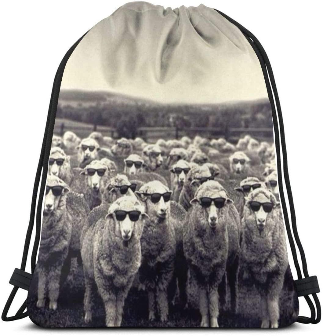 Drawstring Backpack Bags¡ê?Glasses Sheep Sport Gym String Storage Sackpack