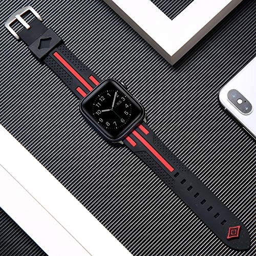 Premium Compatible with Apple Watch strap 38mm / 40mm / 42mm / 44mm silicone strap, fashionable sports strap compatible with iWatch series 5/4/3/2/1, interchangeable wrist strap Professional & Comfort