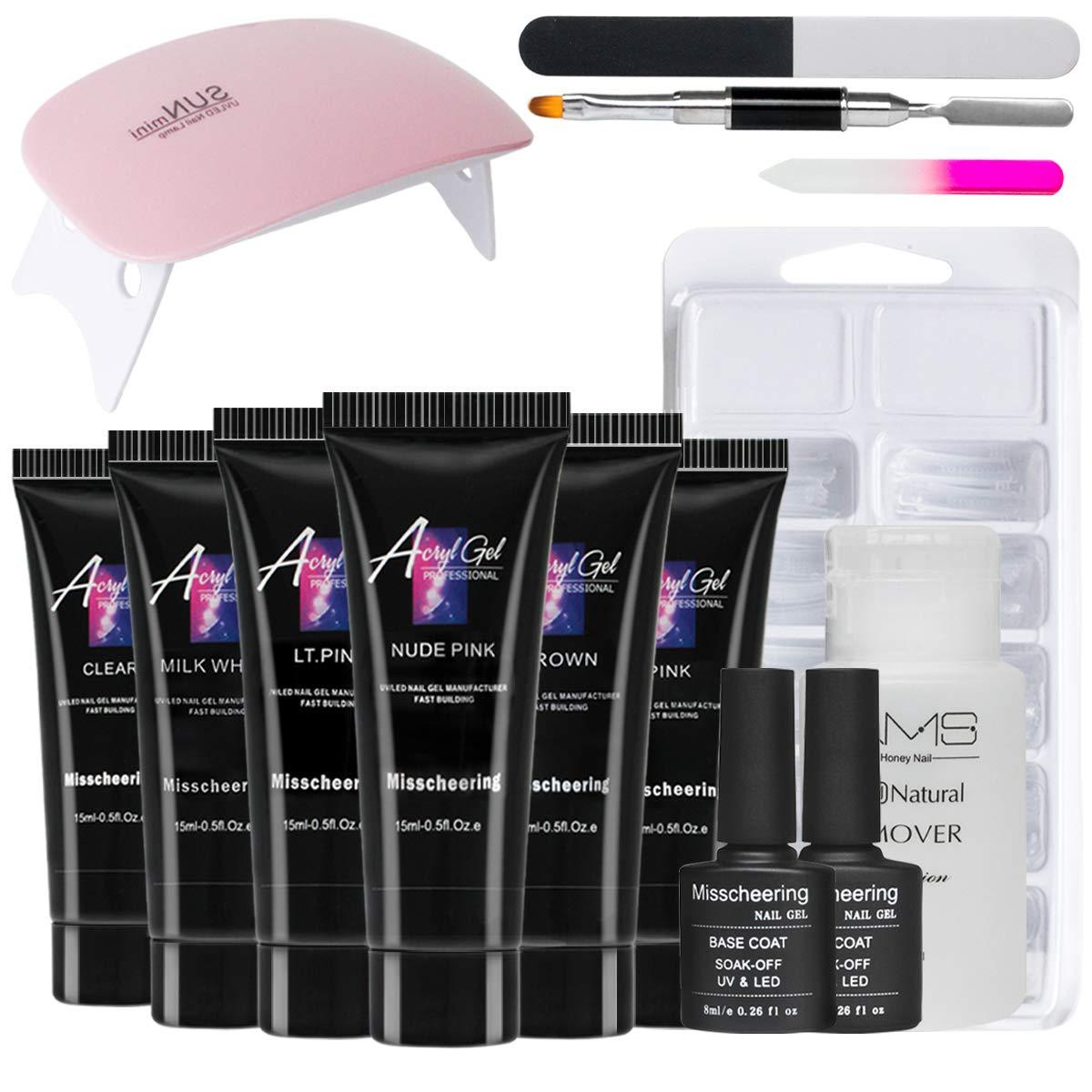 6 Colors x 15ml Polygel Nail Extension Starter Kit with UV/LED Lamp - Gel Nail Polish Kit Set, Professional Nail Art Equipment, DIY Gel False Nails Kit, Extension Nail Builder, Manicure Kit