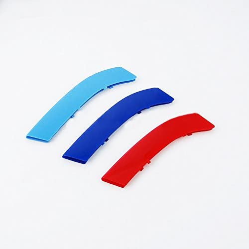 for BMW 3 Series E92 2006-2009 (14 Grille) M-Colored Front Grille Insert Trims Grill Stripes Stickers Center Kidney Grill Cover Performance Stickers 3Pcs
