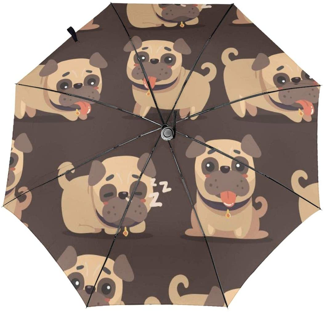 Speed FQ Cartoon Brown Pug Dog Folding Umbrella Travel Fashion Automatic Umbrella