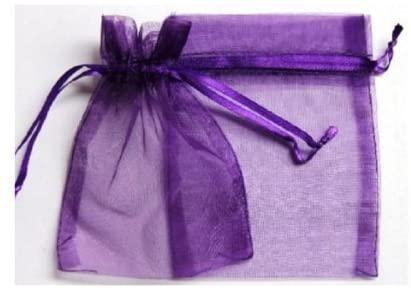 60 Pcs Purple Organza Drawstring Pouches Jewelry Gift Bag 6''x9'' by KINGWEDDING