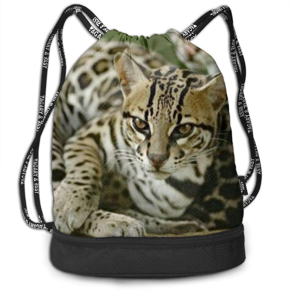 Leopard Cat Drawstring Backpack Bag Sport Gym Sackpack Unisex Short Trip Bundle Backpack