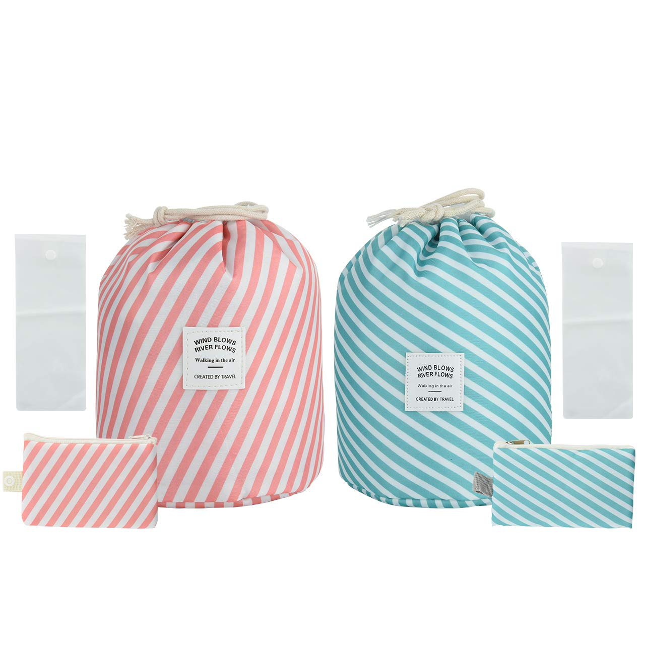 CM Pack of 2 Portable Cosmetic Round Bag Cosmetic Travel Organizer Bag Waterproof Toiletry Bag Multifunctional Bucket Makeup Bags for Bathroom Travel Outgoing Use (Stripe Patterns (Pink & Blue))