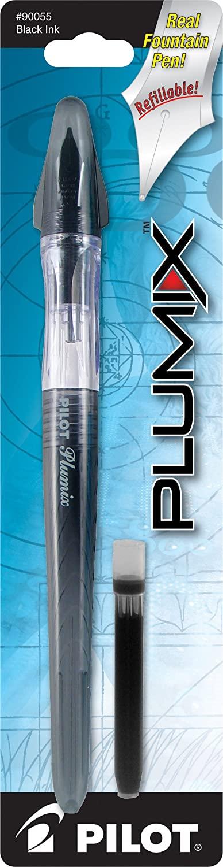 PILOT Plumix Refillable Fountain Pen, Black Barrel, Medium Nib, Black Ink (90055)