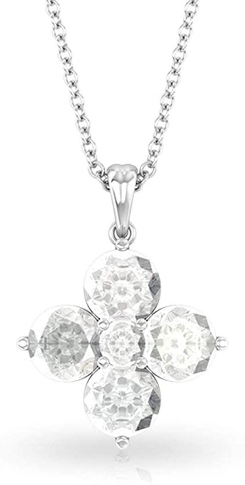 2.36 CT White Topaz Four Leaf Clover Pendant, Unique Round April Birthstone Charm Necklace, Mother Daughter Anniversary Drop Pendant, Bridal Necklaces